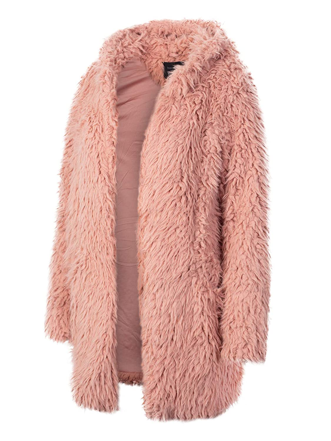 Ijkw043 Mauve Instar Mode Women's Casual Warm Fluffy Faux Fur Oversized Outerwear Jacket Cardigan