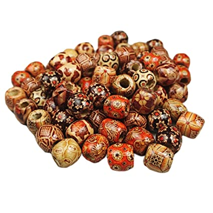 100 Pcs 12mm Large Hole Painted Wooden Beads For Diy Making Bracelet Necklace Jewelry Hair Macrame Craft Project Random Style