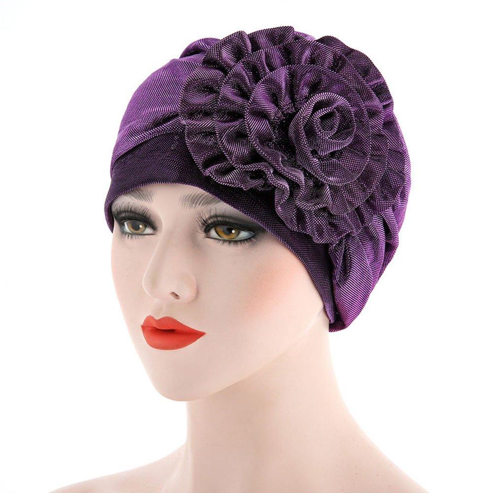 Allywit Women Flower Elastic Turban Beanie Head Wrap Chemo Cap Hat Purple