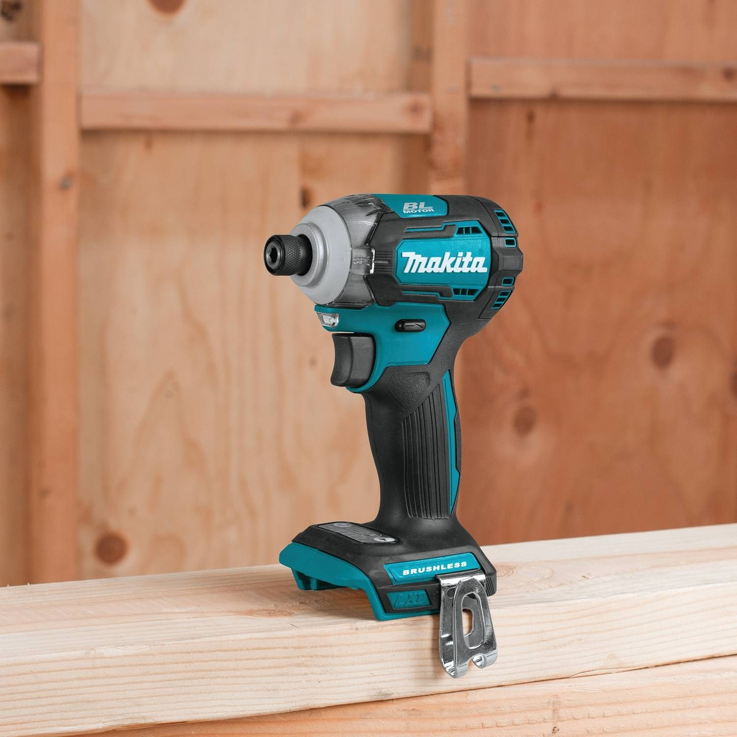 Image of Makita XDT12Z sitting on porche railing
