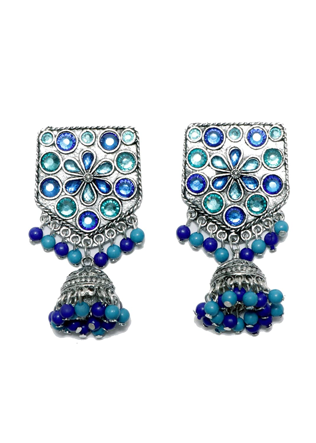 Patterned Pentagon Oxidized Silver Jhumki Earrings Indian Traditional Jewellery for Stylish Women and Girls by SP Jewels