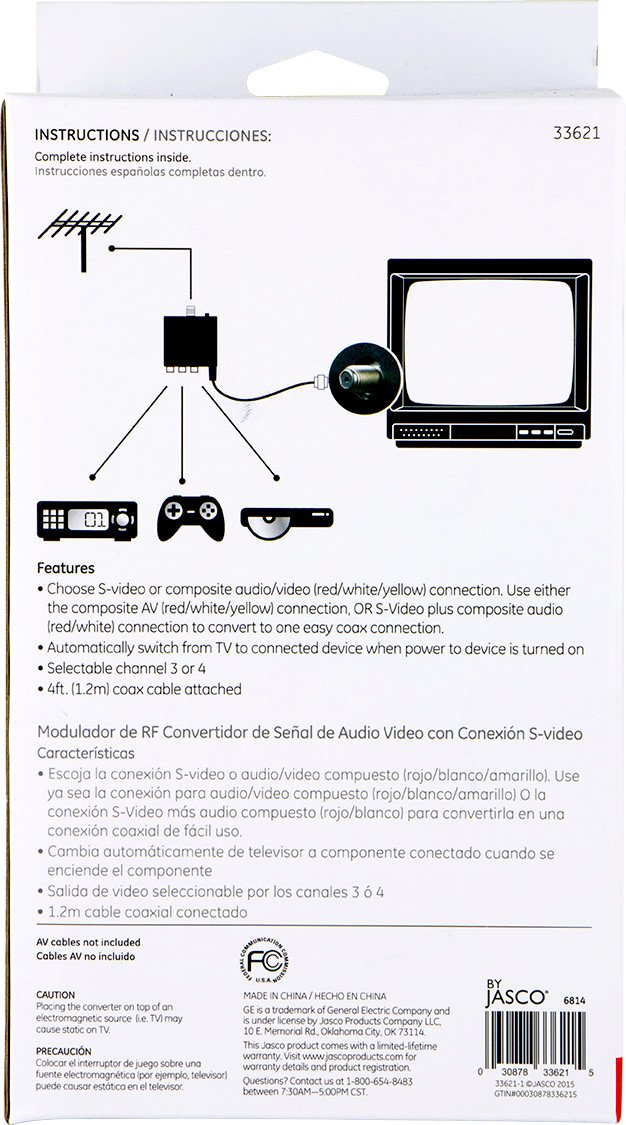 GE 33621 RF Modulator Video Converter with S-Video