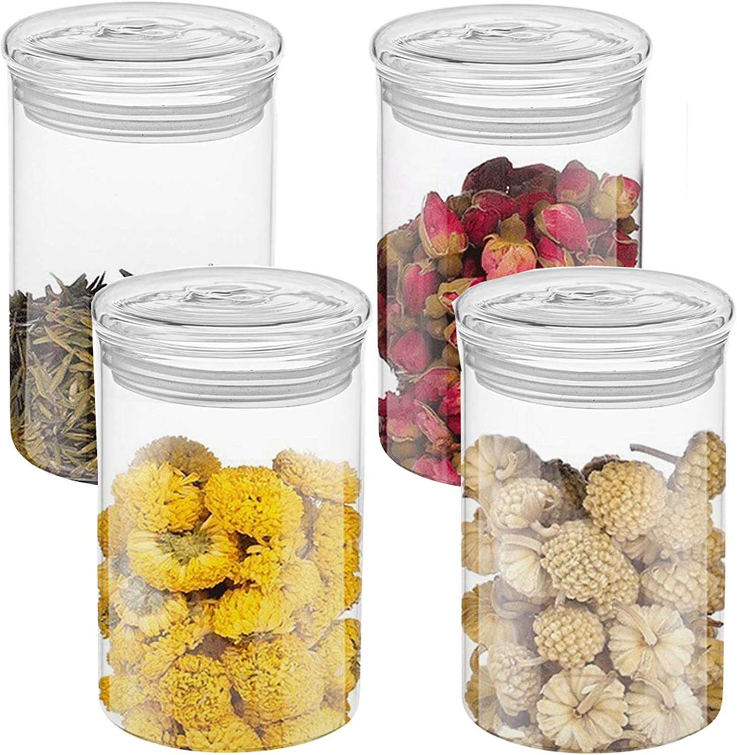Lawei Set of 4 Clear Glass Jars with Lids - 15 Oz Glass Canisters Food Storage Jars Glass Bulk Food Jars for Storage Tea Coffee Beans Sugar Cookie and Candy
