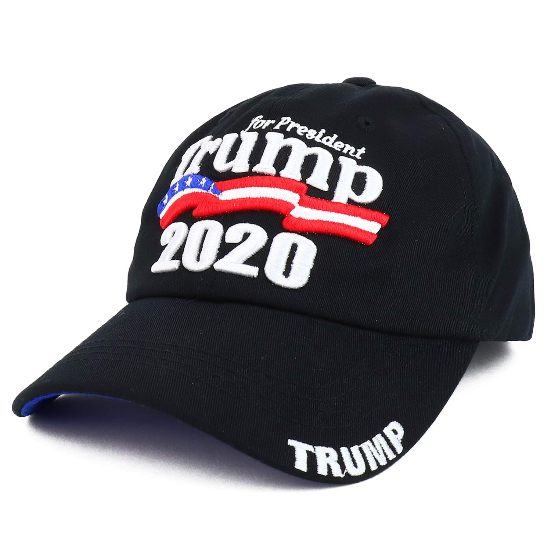 Trendy Apparel Shop President Trump 2020 US Flag Embroidered Baseball Cap – Black