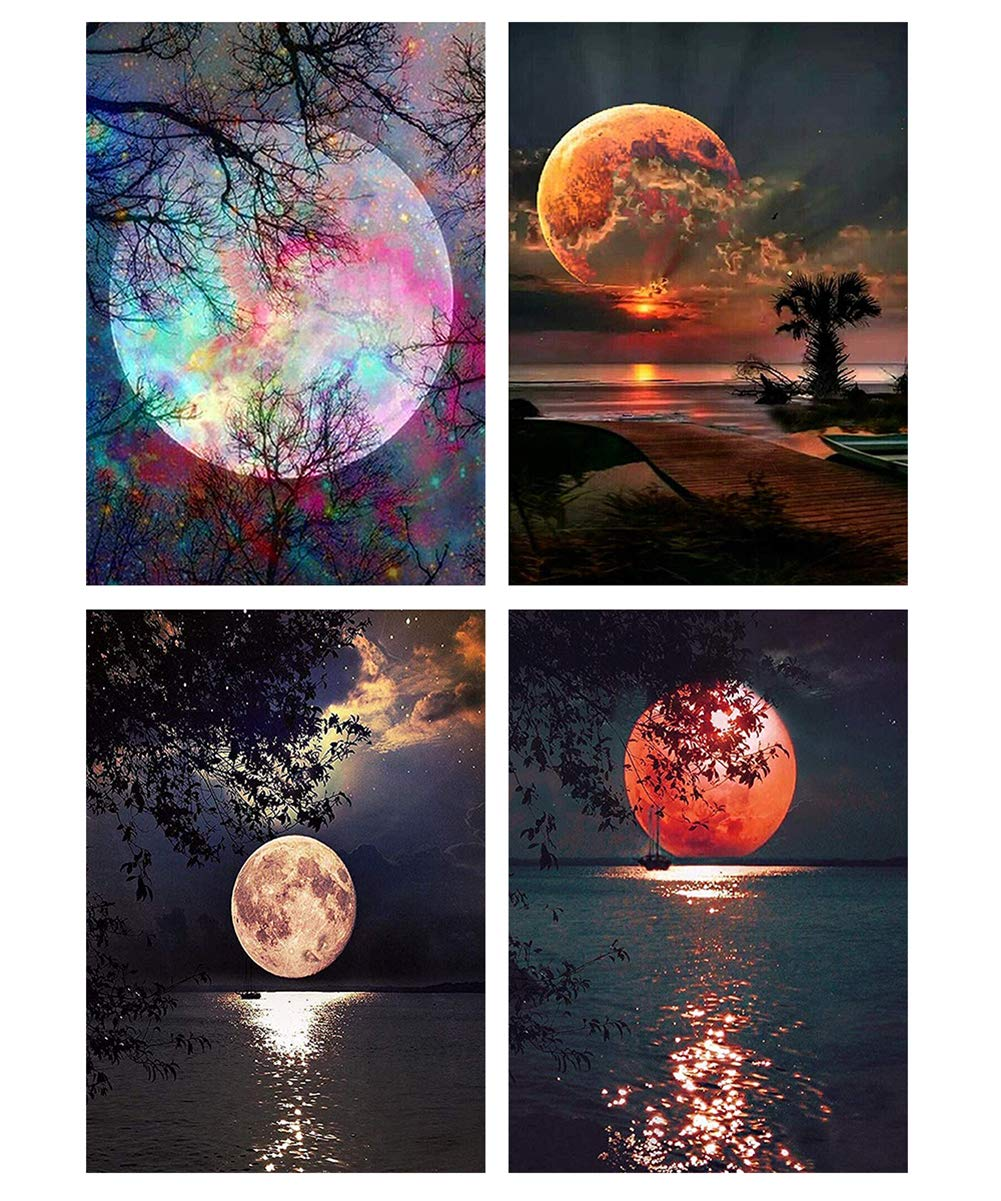 5d Diamond Painting Kits for Adults Paint by Diamonds Full Drill Diamond Art for Home Wall Decor(Moon4pack)
