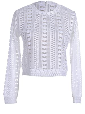Anna-Kaci S/M Fit White Vertical Circle and Line Pattern Semi Sheer Sweater