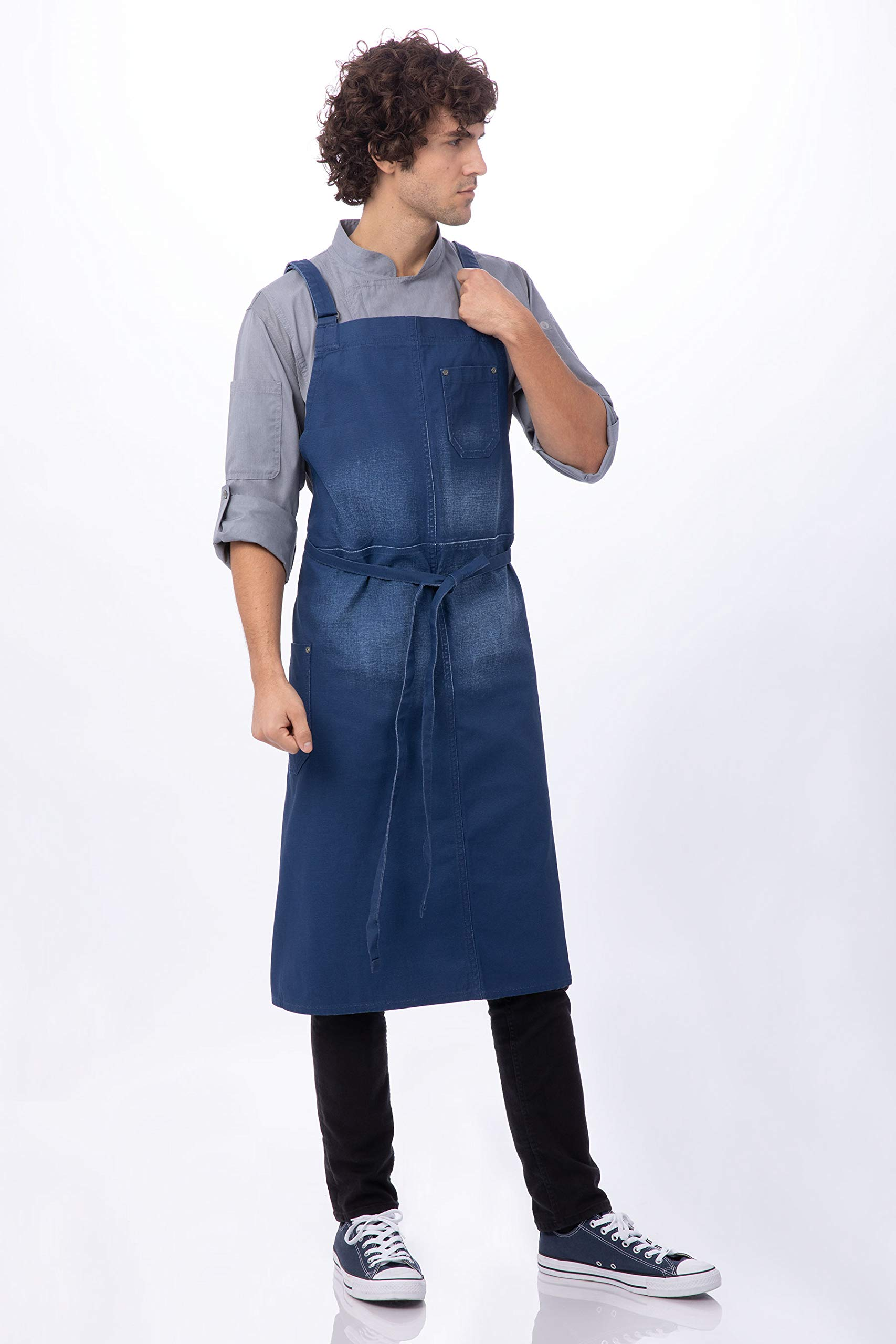 Chef Works Galveston Chefs Cross-Back Bib Apron, Royal, One Size by Chef Works