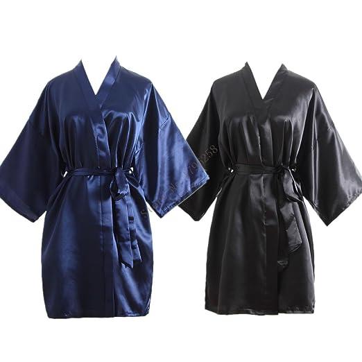 50605dd2c1 Hot Women Robe Silk Satin Robes Wedding Bridesmaid Bride Gown Kimono Solid  Robe (Black)
