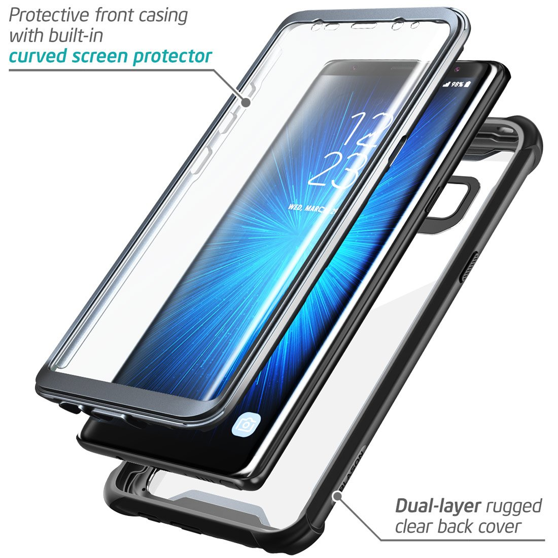 more photos 23d06 2fe69 i-Blason Ares Series Full-Body Rugged Clear Bumper Case with Built-in  Screen Protector for Samsung Galaxy Note 8 2017 Release (Black)