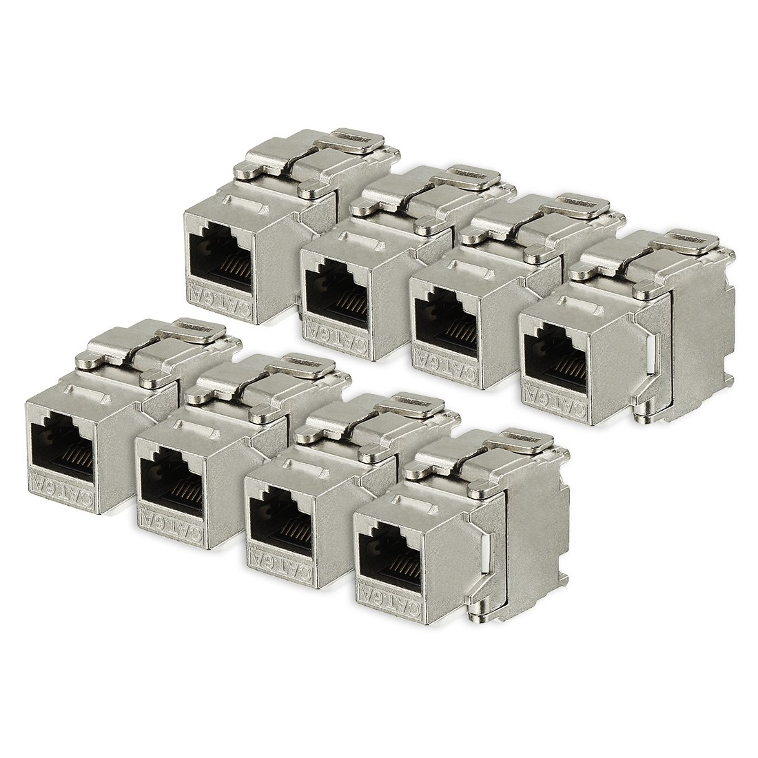 uxcell 8 Pack, 180 Degree Cat 6A RJ45 Ethernet Cable Keystone Jacks Metal Shielded in Silver