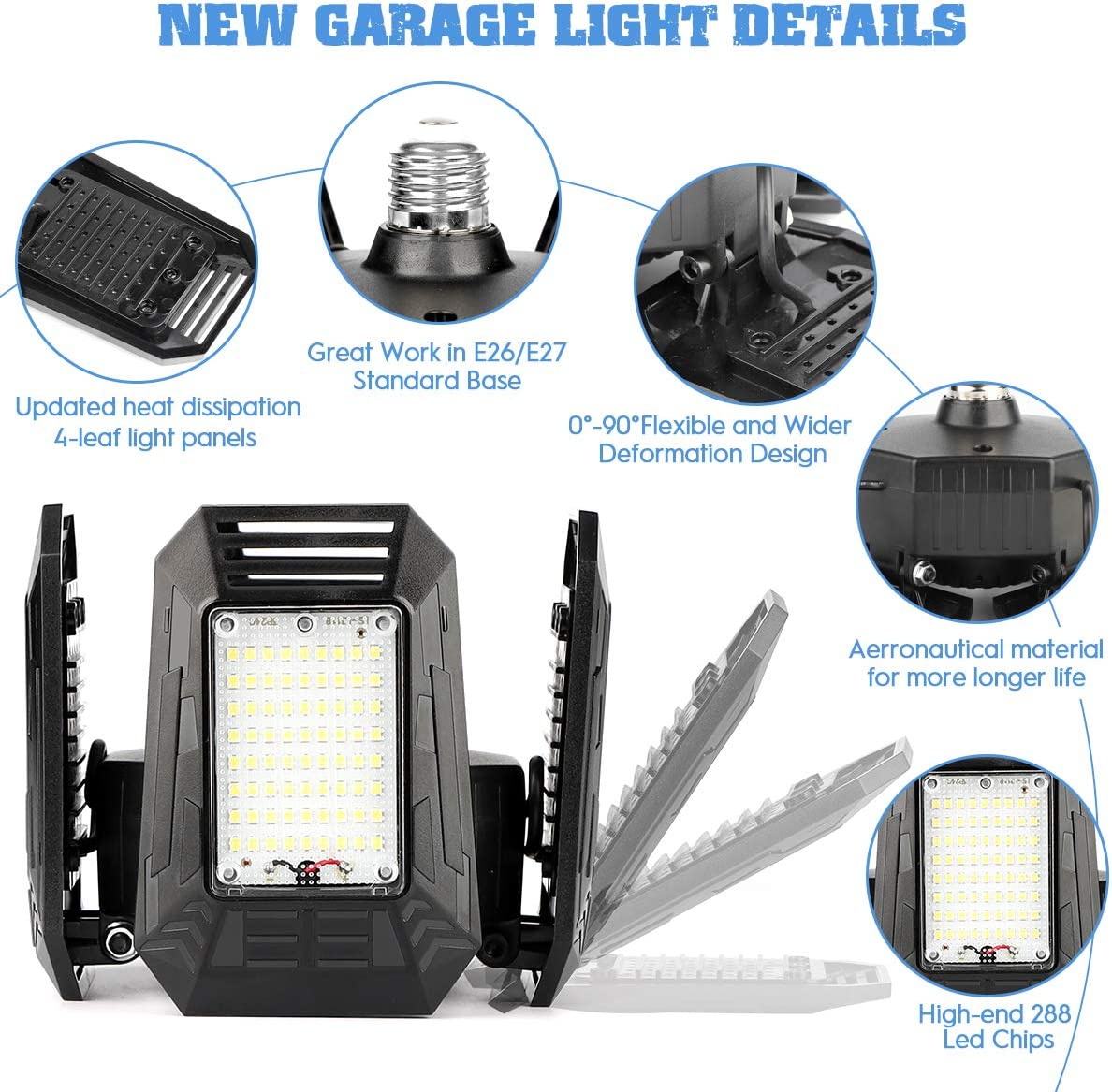 Kaqinu 4 Panels 100W Adjustable Ceiling Garage Light with E26//E27 Screw Base 12000LM-6500K Deformable Lighting for Garage Barn Workshop Warehouse Residential High Bay Light 2 Pack LED Garage Lights