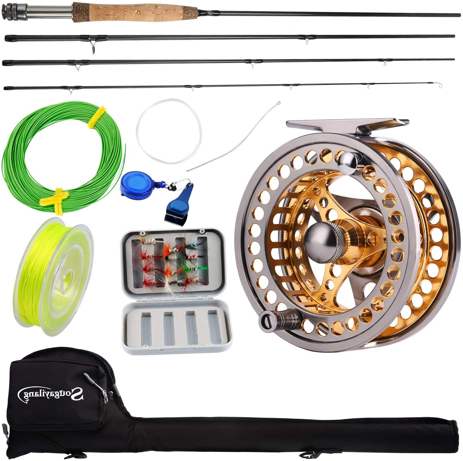 Amazon Com Sougayilang Fly Fishing Rod Reel Combos With Lightweight Portable Fly Rod And Cnc Machined Aluminum Alloy Fly Reel Fly Fishing Complete Starter Package Sports Outdoors
