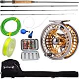 Sougayilang Fly Fishing Rod Reel Combos with Lightweight Portable Fly Rod and CNC-machined Aluminum Alloy Fly Reel,Fly…