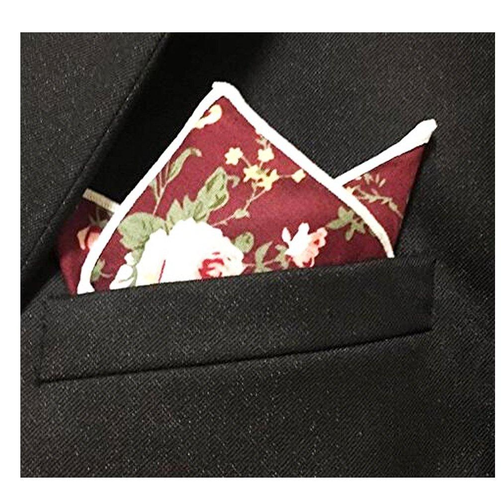 BonjourMrsMr Men's Business Suit Casual Floral Cotton Pocket Square Handkerchiefs Set by BonjourMrsMr (Image #6)