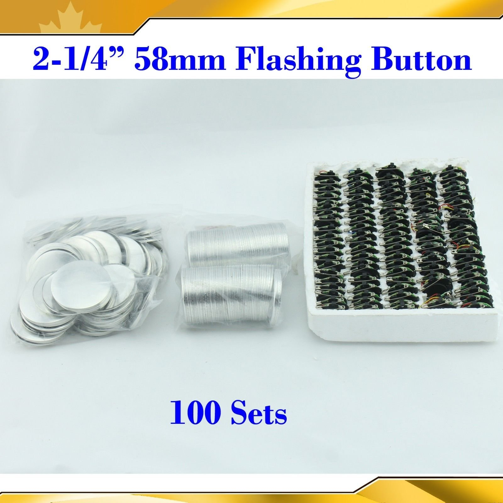 2-1/4'' 58mm 100sets Flashing Shine Light Badge Button Parts for Maker Machine