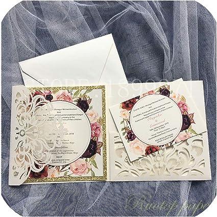 Partecipazioni Matrimonio On Line Low Cost.Amazon Com 50pcs Partecipazioni Matrimonio Card Pearl Paper Laser