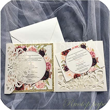 Partecipazioni Matrimonio Wedding.Amazon Com 50pcs Partecipazioni Matrimonio Card Pearl Paper Laser