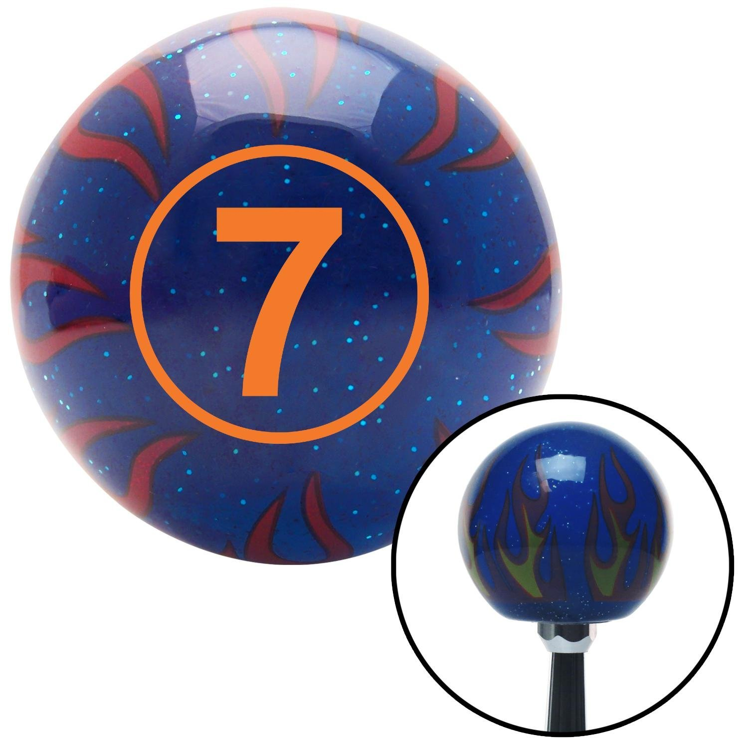 Orange Ball #7 American Shifter 244557 Blue Flame Metal Flake Shift Knob with M16 x 1.5 Insert
