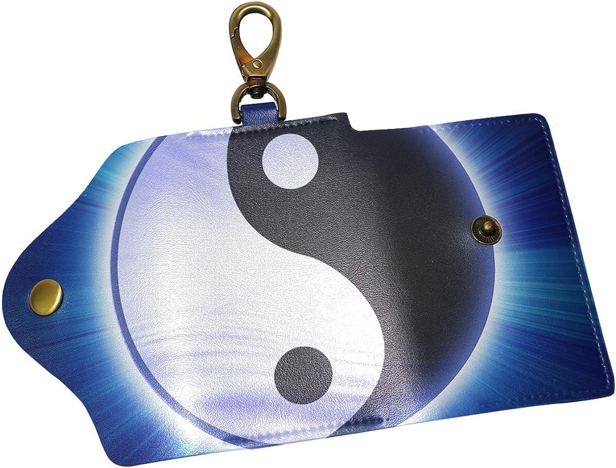 KEAKIA Yin Yang Leather Key Case Wallets Tri-fold Key Holder Keychains with 6 Hooks 2 Slot Snap Closure for Men Women