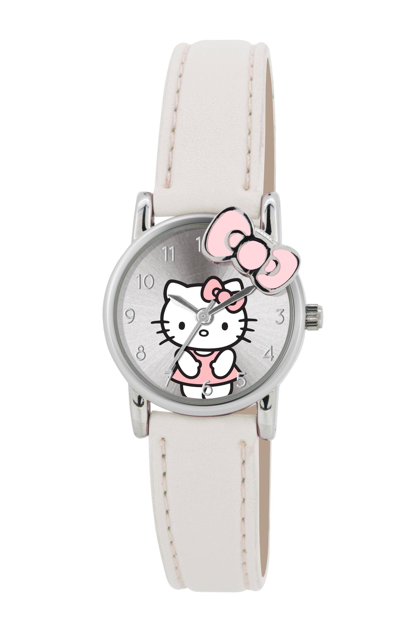 Hello Kitty HK010 Girls White Bow Detailed White Plastic Strap Watch