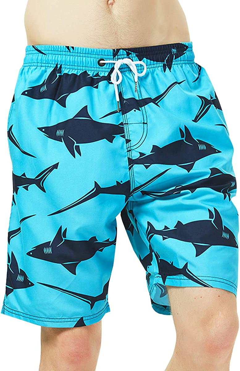 HLVEXH Mens Swim Trunks Bathing Suits Quick Dry Board Shorts with Mesh Lining Pockets