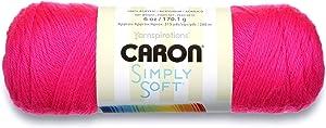 Caron Simply Soft Solids Yarn, 6oz, Gauge 4 Medium, 100% acrylic - Neon Pink - Machine Wash & Dry