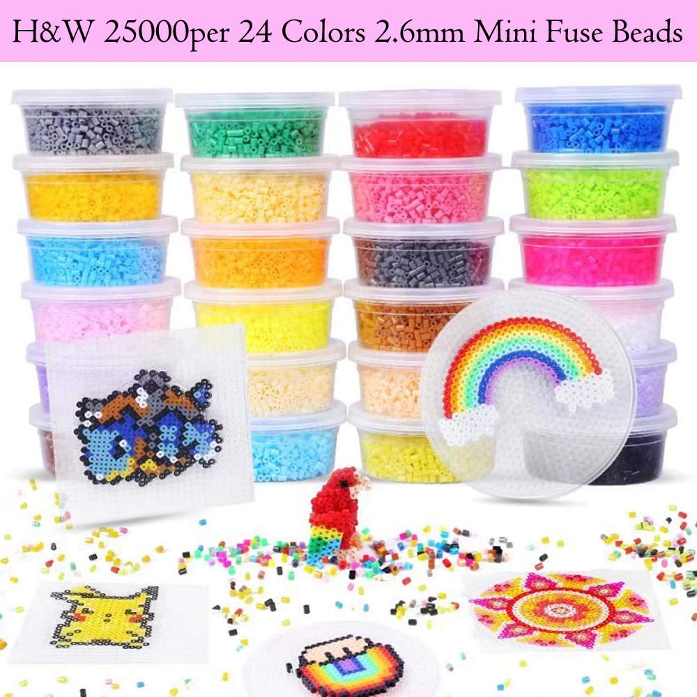 2.6MM Mini Beads !!! - H&W 25000 pcs, 24 Colors Mini Fuse Beads Kits, Add Color Number & Supply Refill Bag, Including Peg Board, Tweezer, Ironing Paper (WA2-Z2) by H&W