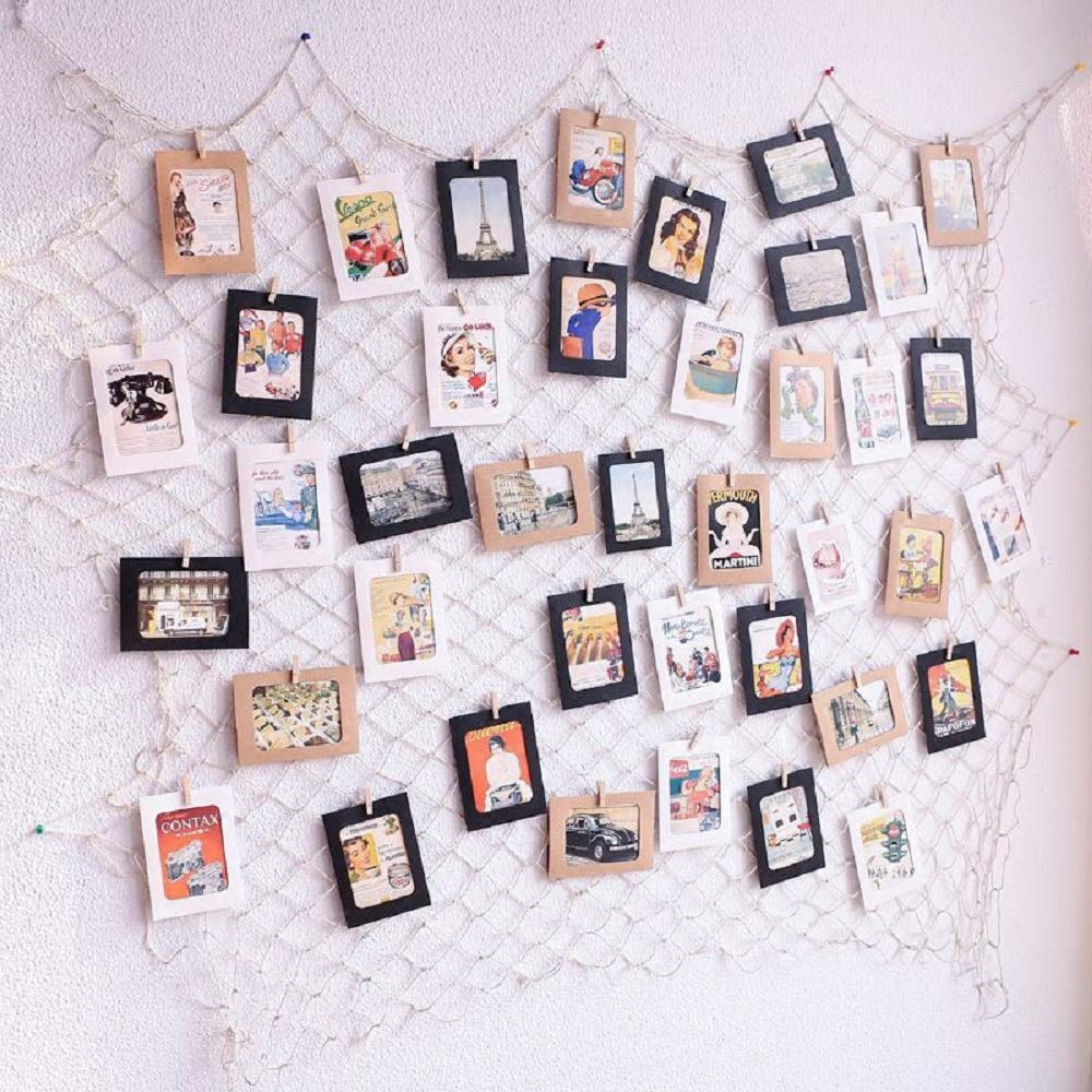 Photo Hanging Display Fish Net Wall Decorations Picture Frames Multi Photos Organizer with 40 Clips for Party Teens, Children Bedroom Living Room by Dichoso