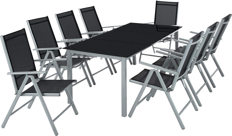 TecTake Aluminio Conjunto Muebles para Jardin 8+1 Silla Adjustable ...
