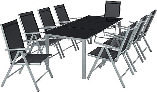 TecTake Aluminio Conjunto Muebles para Jardin 8+1 Silla Adjustable Mesa Cristal terraza (Gris Plateado | No. 402165): Amazon.es: Jardín