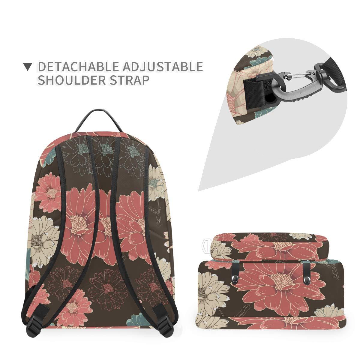 Dark Red Flower Shoulder Backpack Messenger Crossbody Laptop Bag Student Bookbags for Kid Girls Boys