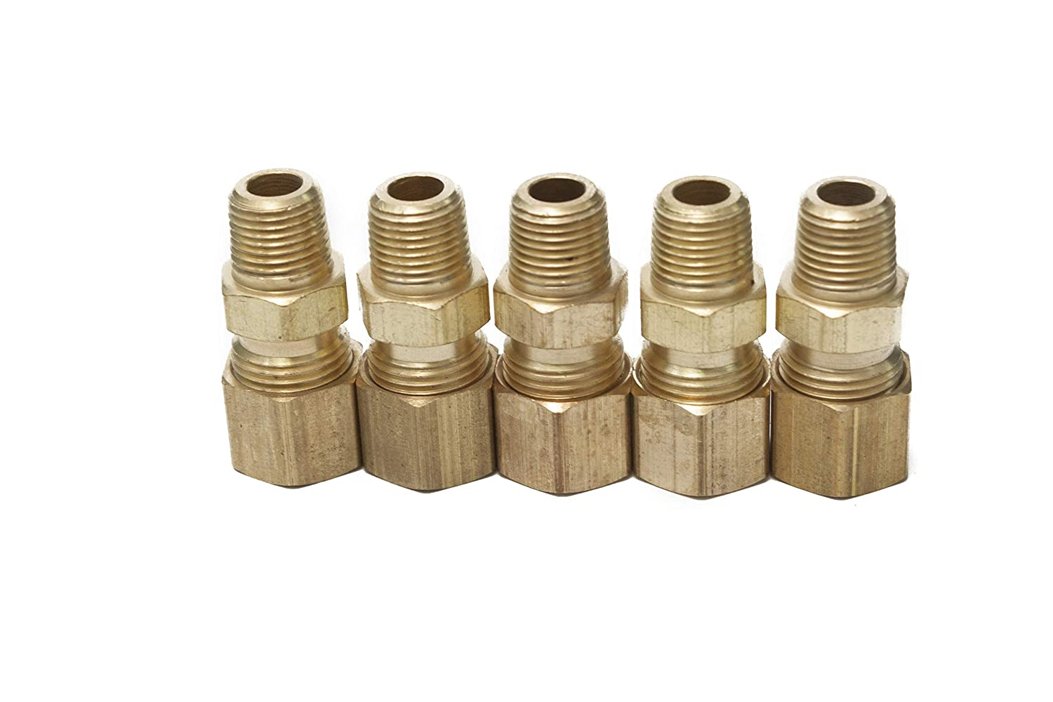 Pack of 5 LTWFITTING Brass 5//16 OD x 1//8 Male NPT Compression Connector Fitting