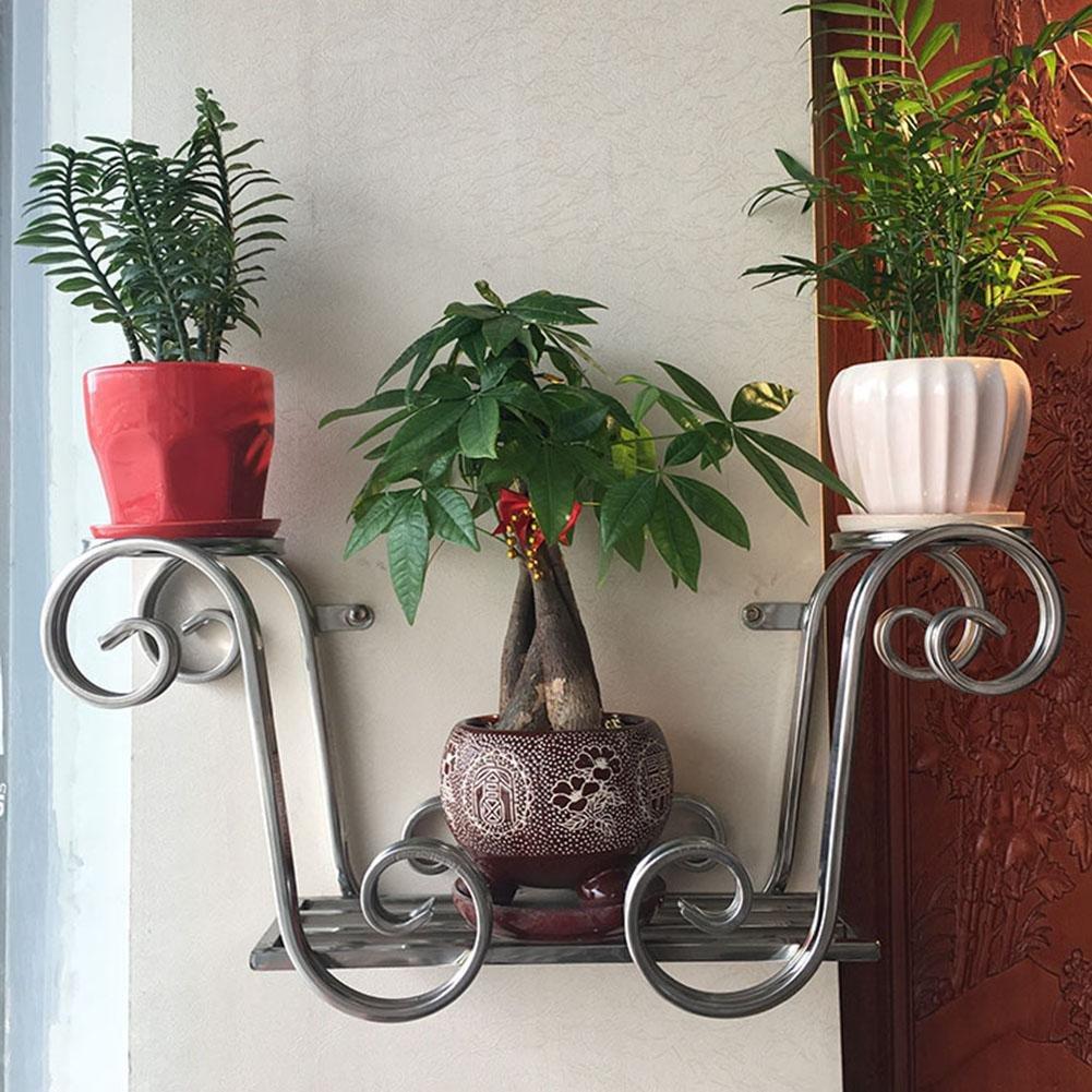 KSUNGB Flower Stand Wall Hanging Creative European Storage Living Room/ Bedroom/ Balcony / Hotel / Cafe Flower Pot Rack Bonsai Frame Hanging Stainless Steel True Color 58 26 17cm