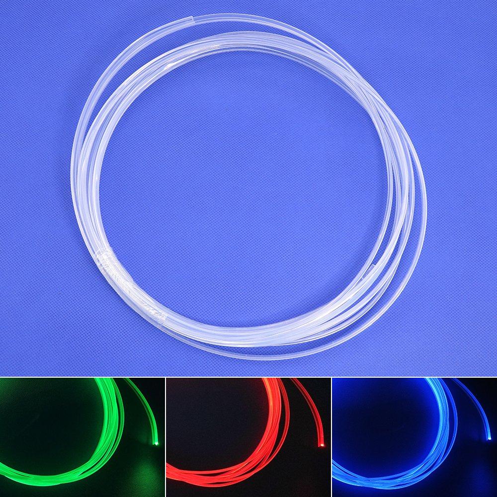 3MM x3 LED Skirt Side Glow Fiber Optic Cable Light Kit 1.5W DC 12V Illuminator Car Home (Blueice)