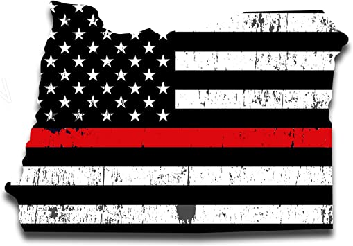 THIN RED LINE DISTRESSED AMERICAN FIREFIGHTER FLAG  Window Decal