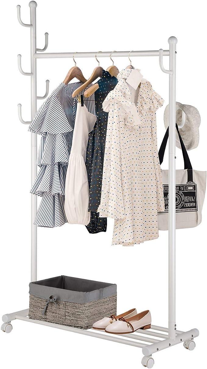 SINGAYE Clothes Rack 2-in-1 Coat Rack Rolling Garment Rack with Bottom Shelves, 7 Side Hooks, Lockable Wheels, Rolling Closet Organizer (White)
