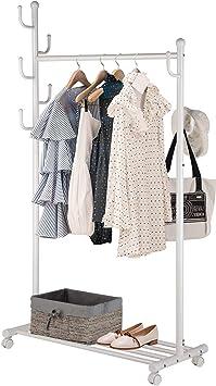 Amazon.com: SINGAYE Perchero 2 en 1 con estantes inferiores ...