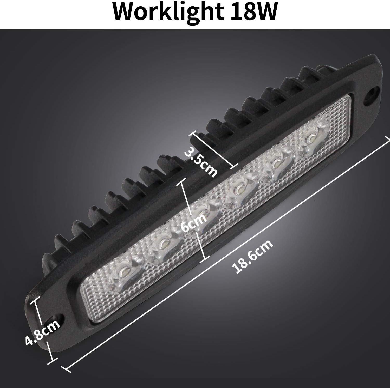 Pack of 2 YuanGu 18W Led Work Light Bar Slim LED Daytime Running Light 12V 24V with 1800LMS 6000K for Car Trucks Boat SUV ATV J-e-e-p Offroad