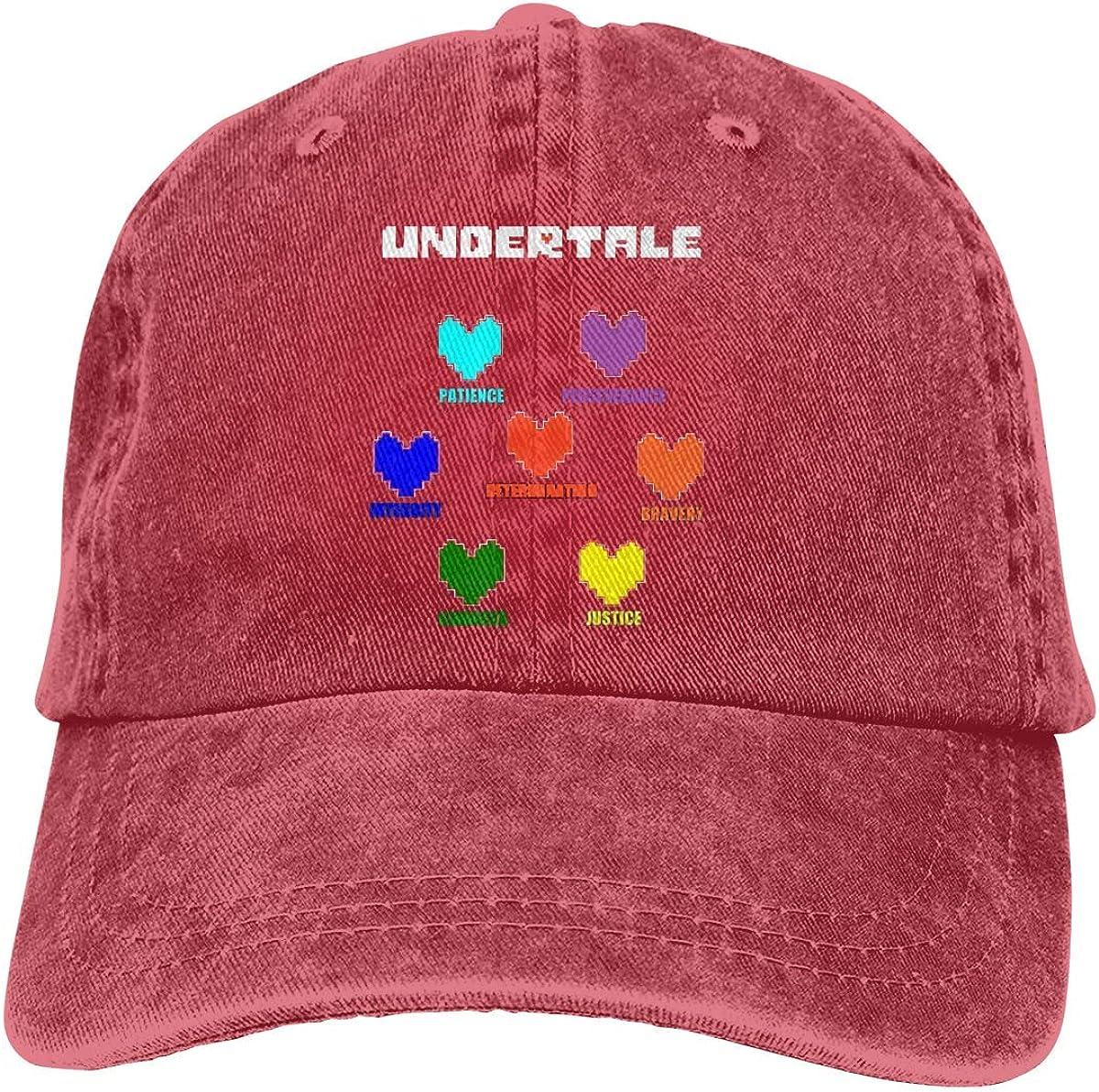 YINGSSMZ Undertale Heart Sports Denim Cap Adjustable Snapback Casquettes Unisex Plain Baseball Cowboy Hat Black
