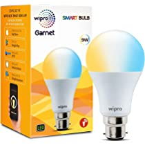 Wipro Garnet 9W Smart Bulb ( Yellow / Light Yellow / White - Compatible with Alexa and Google Assistant)