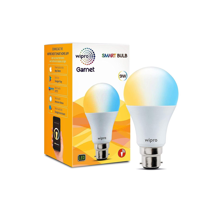 Wipro Garnet Base B22 9-Watt Smart Bulb (Pack of 1, Shades of White and Yellow)