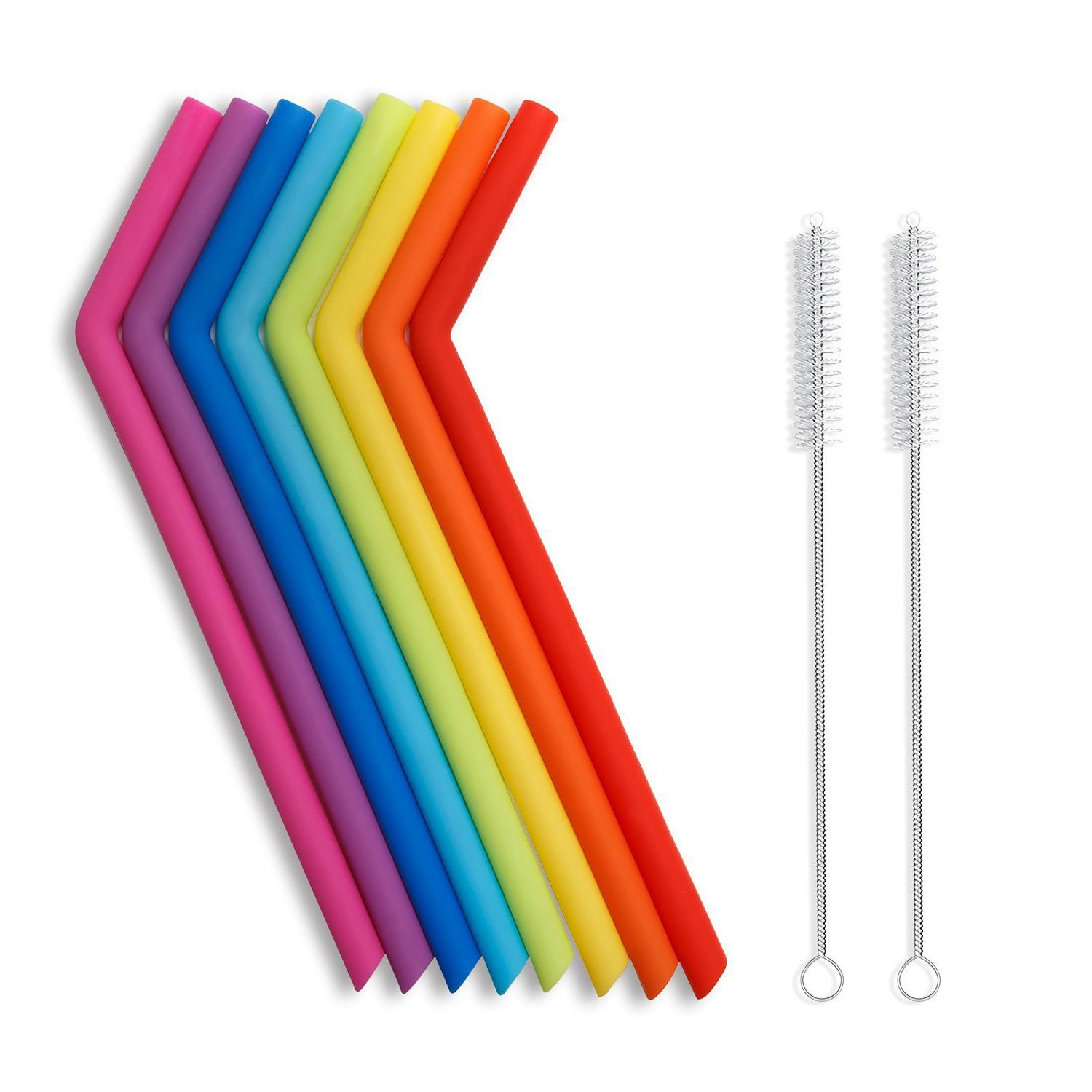 Hiware Reusable Silicone Drinking Straws, Extra Long Flexible Straws with Cleaning Brushes for 30 oz Tumblers RTIC/Yeti - 10 Pieces - Bpa-Free - No Rubber Tast