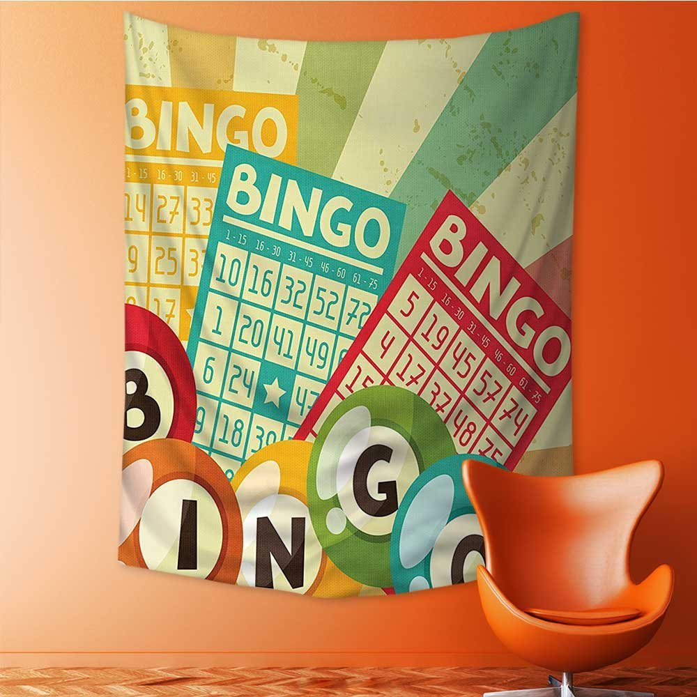 AmaPark Wall Decor Tapestries Bingo Game with Ball and Cards Pop Art Stylized Lottery Hobby Celebration Theme Tapestry Coverlet Curtain 40W x 60L Inch by AmaPark