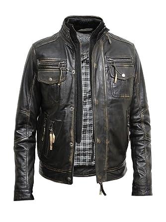 3a87041ce48a Brandslock Hommes vintage Tous les Biker Veste en cuir vintage noir Lavé  Biker style rétro Crinkle