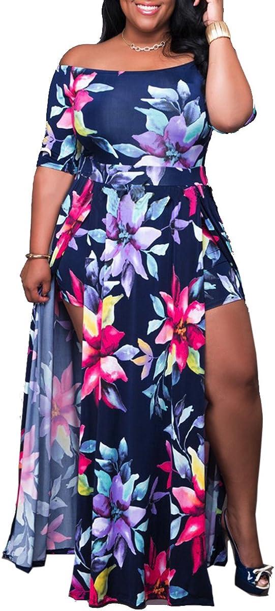 Womens Off Shoulder Floral Print High Split Beach Maxi Dress Jumpsuit Romper