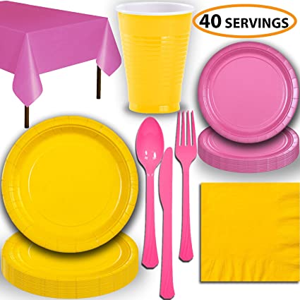 Table Covers Yellow Party Tableware Plates Cups Napkins Cutlery