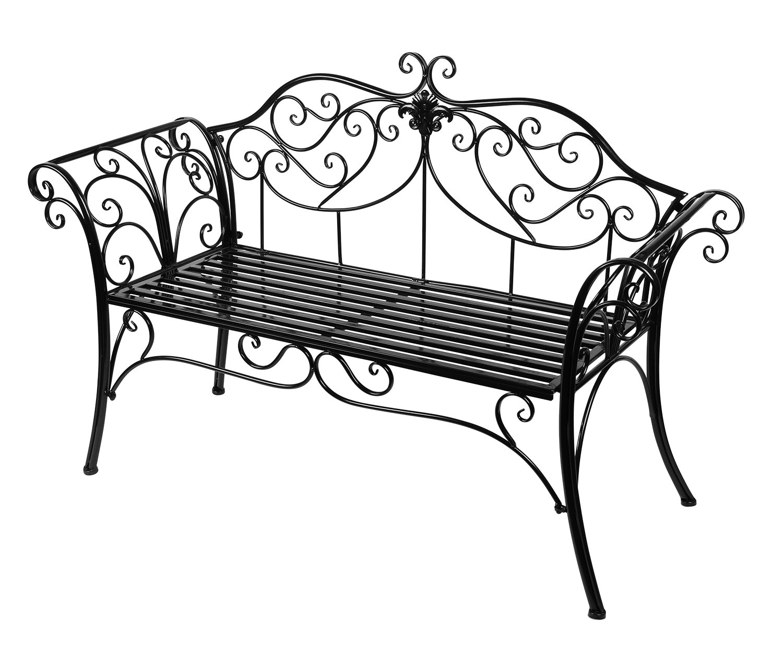 Antique Black Metal Garden Bench Chair 2 Seater for Garden, Yard, Patio, Porch and Sunroom