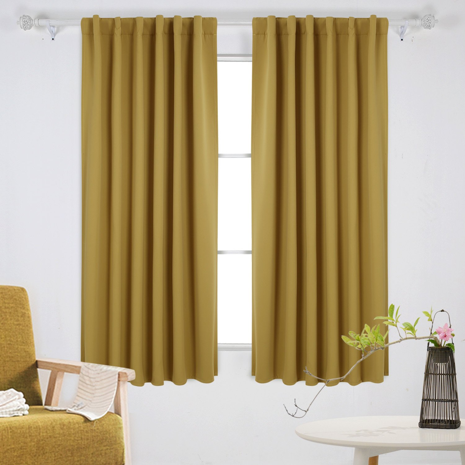 Deconovo Back Tab and Rod Pocket Curtains and Drapes Room Darkening Panels Insulated Thermal Blackout Curtains Misted Yellow