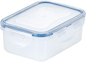 LOCK & LOCK Easy Essentials On The Go Meal Prep Lunch Box, Airtight Containers with Lid, BPA Free, Rectangle-Snack (2 Section) -12 oz, Clear