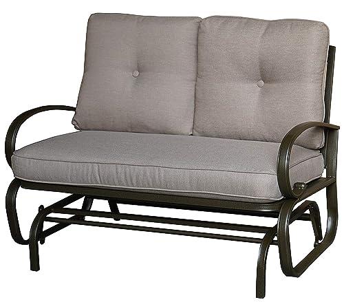 Kozyard Cozy Two Rocking Love Seats Glider Swing Bench Rocker for Patio, Yard with Soft Cushion and Sturdy Frame Beige